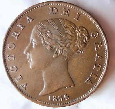 1854 GREAT BRITAIN 1/2 PENNY - AU - Incredible Example - FREE SHIPPING - HV31