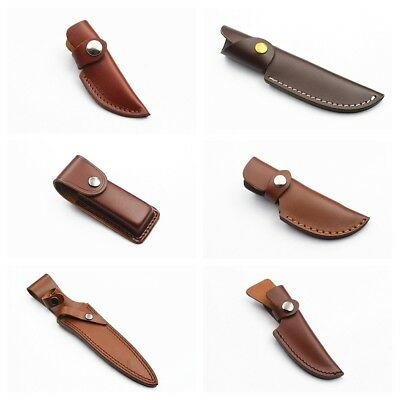 Brown Leather Carry-All Sheath for Folding Blade Pocket Knife Pouch