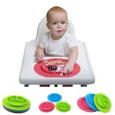 Snack Mat Silicone Non Slip Happy Toddler Placemat Suction Table Plate Tray TY