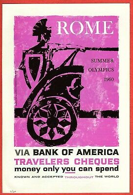1960 Magazine Ad~Bank of America Travelers Cheques ROME Summer Olympics Chariot