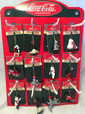 "1998 Coca-Cola Coke Easel Back Christmas Display and 16 Ornaments 11"" x 14"""