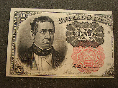 1874 Fifth Issue 10 Cent Meredith Red Fractional Currency Crisp Uncirculated