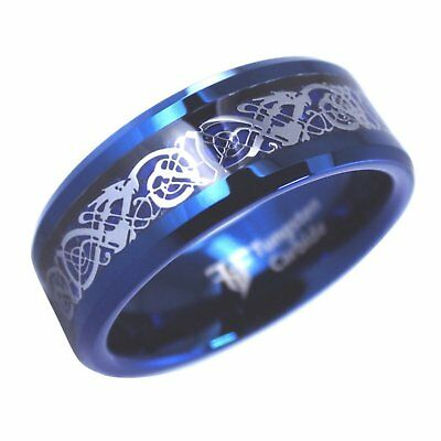 Blue Celtic Dragon Tungsten Ring 8mm Mens Womens Viking Jewelry Size 8-10