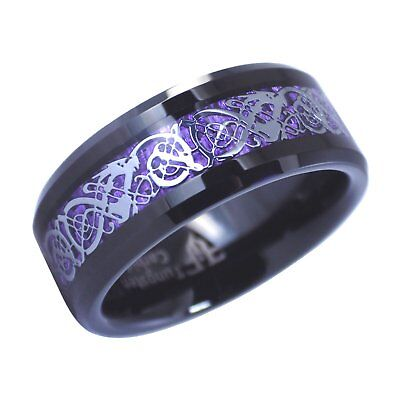 Black Tungsten Purple Celtic Dragon Ring 8mm Womens Mens Wedding Band Size 6-17