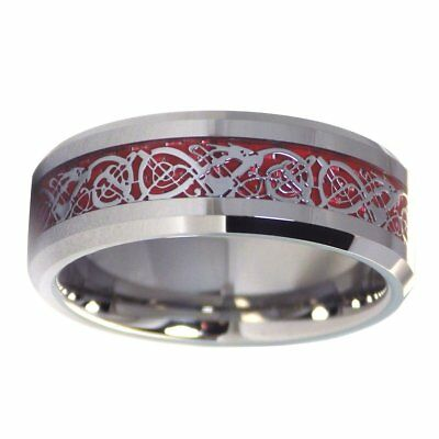 Tungsten Fire Red Celtic Dragon Ring Mens Womens Wedding Band 8mm Size 6-17