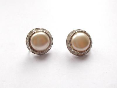Vintage Art Deco Pearl Bead Silver Tone Clear Glass Crystal Domed Earrings