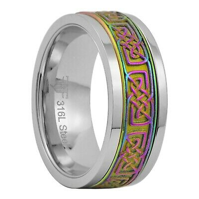 Rainbow Celtic Spinner Ring Womens Mens 8mm Stainless Steel Band Size 3-15