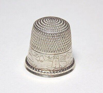 Antique Sterling Silver Engraved Landscape Lighthouse Boat Ship House Thimble