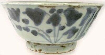 Superb Medieval China Handcrafted Blue + White Ming Glazed Ceramic Bowl 1600AD