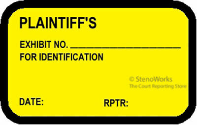 PLAINTIFF'S EXHIBIT NO. FOR ID Labels Stickers Yellow  492 per pack