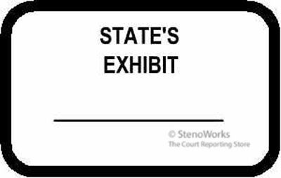STATE'S EXHIBIT Labels Stickers White  492 per pack Free Shipping