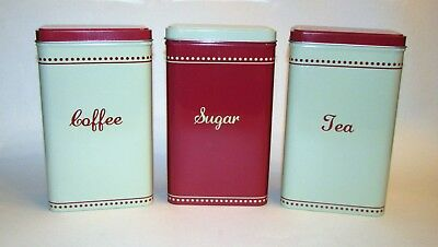 New Set Of 3 Storage Tin Coffee Tea Sugar Canister Jar Vintage Inspired Red