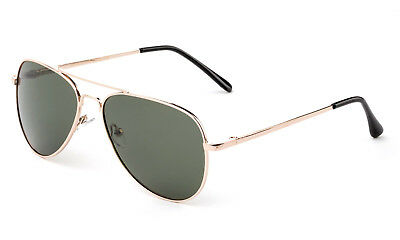 Youth Top Gun Aviator Polarized Sunglasses Gold Stainless Steel Spring Frame