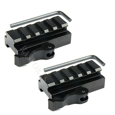 "2PCS 5-Slot Quick Release Detach QR QD 1/2"" Riser Mount for Picatinny Rail"