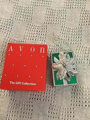 Avon All Wrapped Up For Christmas Ornament Green Rectangle