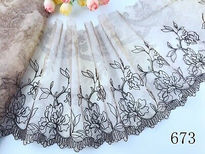 "7 ""*1 yard Delicate Embroidered flower  tulle Lace Trim DIY 673"