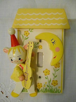 Vintage Irmi 1960's 3D Nursery Rhyme Wooden Switch Plate HEY DIDDLE DIDDLE Decor