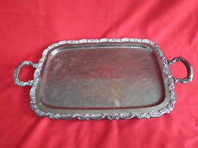 Vintage  ONEIDA SILVERPLATED footed SERVING TRAY w handles