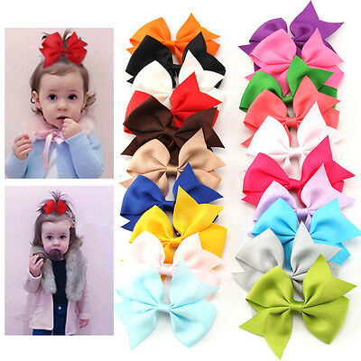 20PCS Handmade Bow Hair Clip Alligator Clips Girls Ribbon Kids Sides Accessories
