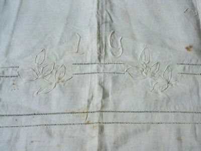 Antique Early 1900 Creamy Embroidery Linen Towel Or Cushion Cover Or For Project