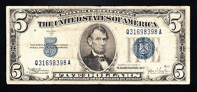 US 1934 C Silver Certifite $5 Note Blue Seal VG+