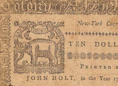 Sep 2, 1775 $10 Dollar Elephant Note New York Colonial Currency Paper Money Pcgs