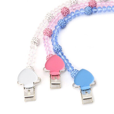 Baby Infant Crystal Beaded Pacifier Holder Clip Nipple Teether Dummy Strap Chain