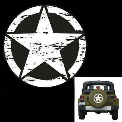 Universal 50cmx50cm White Car SUV Decal Distressed Army Star Hood Decal Stickers
