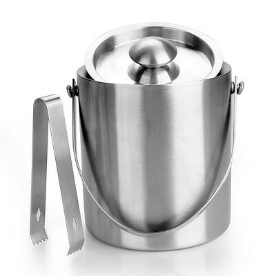 Large Double Walled Stainless Steel Insulated Ice Bucket With Lid Drain Tongs