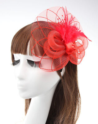 Women Feather Flower Hair Clip Mini Top Hat Fascinator Wedding Cocktial Party