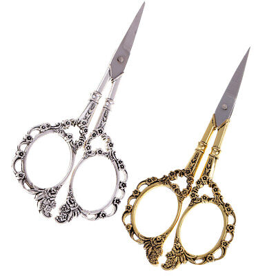 2Pcs Stainless Steel European Retro Floral Scissors Sewing Shears DIY Tools