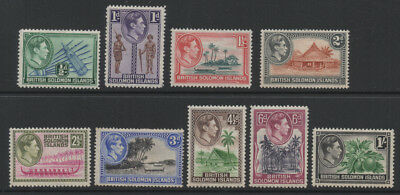 1939, British Solomom Islands SG60-68 part set of 9 to 1/- green & black.