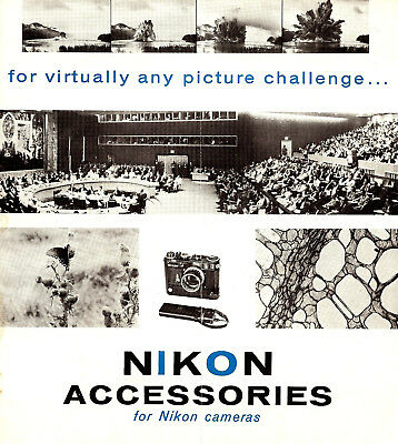 1960s NIKON S-3 & SP 35mm RANGEFINDER CAMERA ACCESSORIES BROCHURE