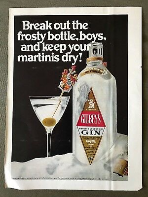 Vintage 1970 Gilbey's Distilled Gin Martini Advertisement Ad
