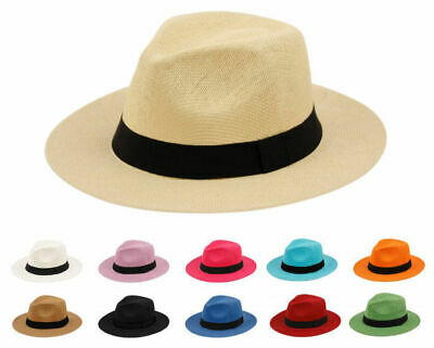 Summer Big Brim Panama Hat, Fedora Flat Brim Beach Sun Fedora Men or Women