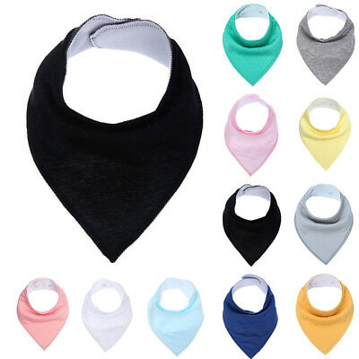 Bandana Cloths Bibs Kid Triangle Infant Baby Cotton Soft Solid Burp Feeding Pc