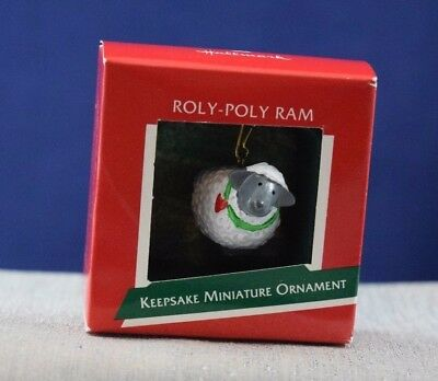 NEW 1989 Hallmark MINIATURE Ornament ROLY-POLY RAM