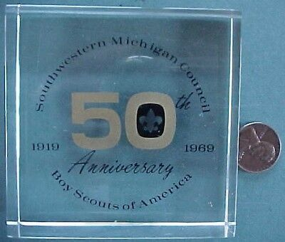 1919-1969 Southwest Michigan Boy Scouts of America 50th anniversary paperweight!