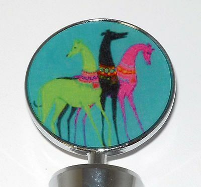 Greyhound Teal Deco Dogs Wine Bottle Stopper Whippet IG