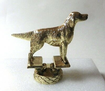 Vintage Setter Dog Gold Metal Trophy Topper Hood Ornament