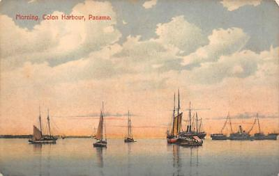 Morning Colon Harbour Panama Canal Zone Scott #31 Stamp Postcard 1912