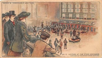 New York Stock Exchange Visitors Chicago Sunday American Newspaper Postcard