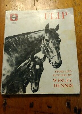 Vintage Children's Book  FLIP by Wesley Dennis - pb 1977 - Horses - Illustrated