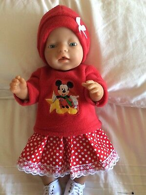 """Doll Clothes to fit 17"""" Baby Born doll ~ 3 Piece Set. Micky Mouse Red Spot"""