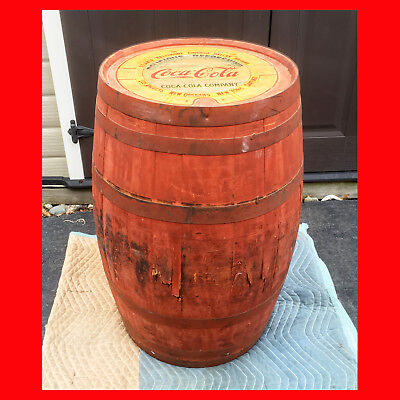 HUGE Antique 43 Gallon COCA COLA Wooden SYRUP BARREL advertising coke sign soda