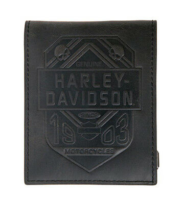 Harley-Davidson Mens Willie G Skull Shield Black Leather Bifold Wallet by LODIS