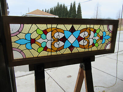 ANTIQUE AMERICAN STAINED GLASS TRANSOM WINDOW ~ 49 x 17 ~ ARCHITECTURAL SALVAGE