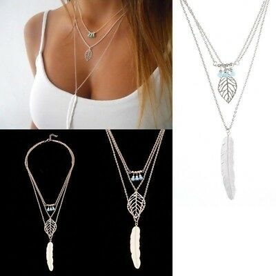 Women Vintage Multi-layer Beads Leaf Feather Pendant Chain Necklace Gift