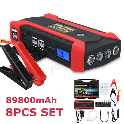 89800mAh 12V Car Jump Starter Rescue Pack Booster USB Charger Battery Power Bank
