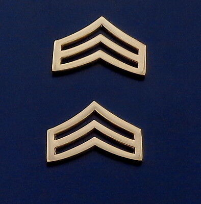 "SGT Sergeant Chevron WIDE 1"" Gold Pair Collar Pins Rank Insignia police"